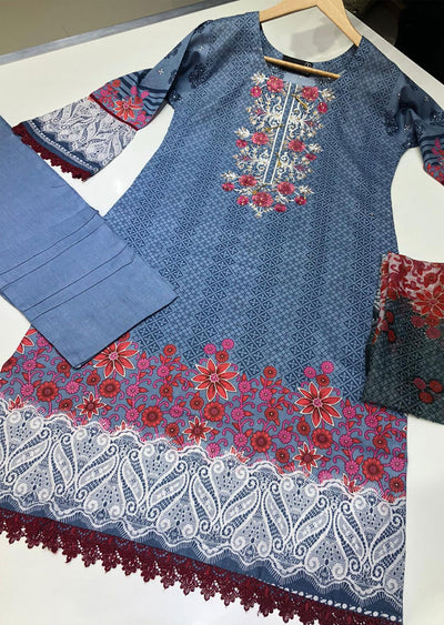 BLG60003 Readymade Embroidered Lawn Suit - Memsaab Online
