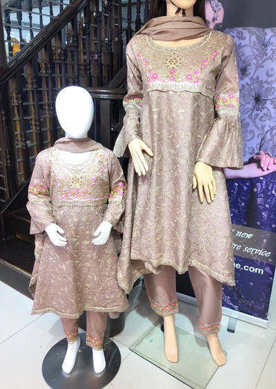BLG921 Nude Readymade Mother & Daughter Lawn Suit - Memsaab Online