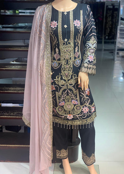 PS1592 Passion - Readymade Black Chiffon Suit - Memsaab Online