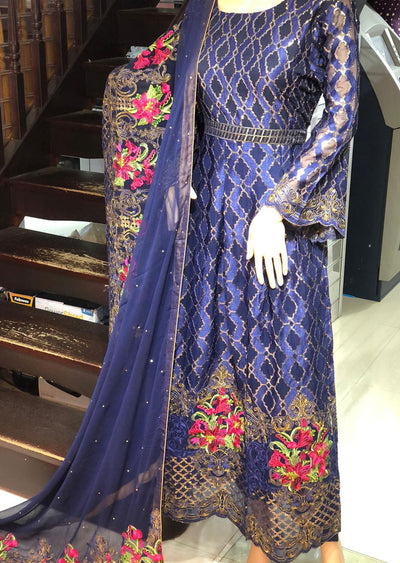 AD303 Readymade Navy Chiffon Dress by Sofia Shaan - Memsaab Online