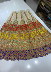 SHB6211- C Blue Embroidered Multicolour Skirt - Memsaab Online
