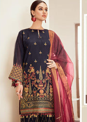 Blue Fantasy - Blue Unstitched Baroque Embroidered Chiffon Suit - Memsaab Online