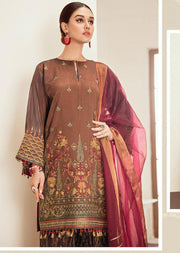 Blue Fantasy - Brown Unstitched Baroque Embroidered Chiffon Suit - Memsaab Online