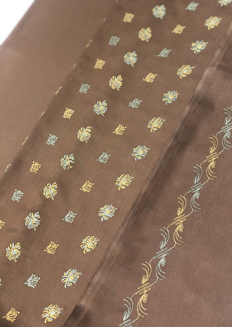 6192 Unstitched - Brown Garam suit by Javed Arts - Memsaab Online