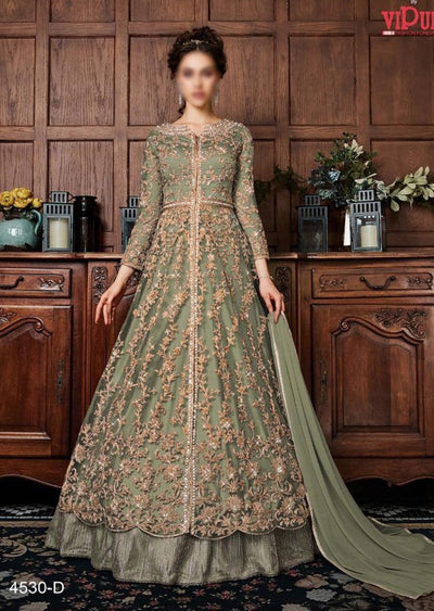 V453 Green - Vipul Inspired Anarkali Dress - Unstitched - Indian Bollywood Designer Dress - Memsaab Online