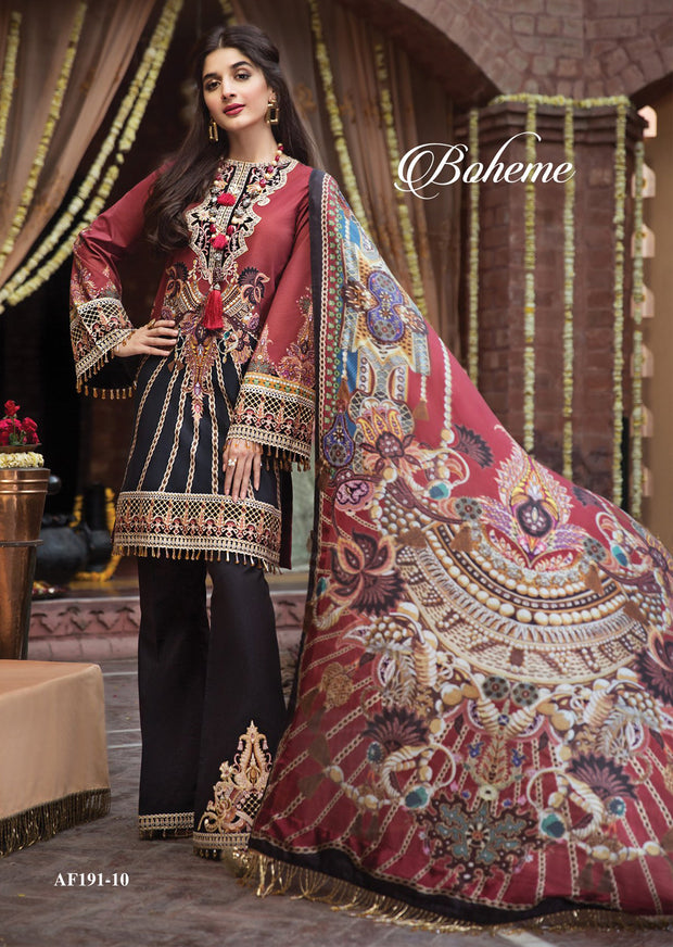 Boheme - Anaya by Kiran Chaudhry - Festive Collection 2019 - Unstitched Pakistan Designer Embroidered Lawn Original Suit - Memsaab Online