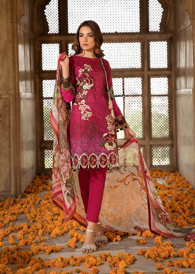 149f19239a C-03 Plum Plush - Unstitched - Chevron Mid Summer Lawn Collection by Ramsha  -