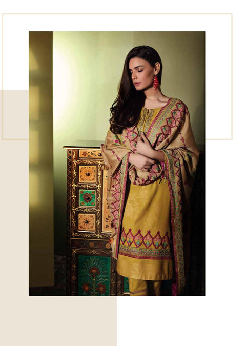 C10 - Charizma - Unstitched - Embroidered Jacquard with Wool & Palachi Shawl Collection Vol 1 - Memsaab Online