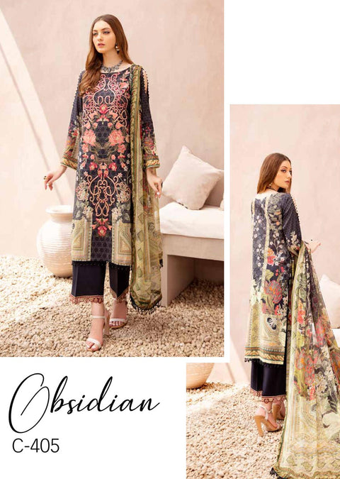 C-405 Unstitched Chevron Luxury Lawn Collection Vol 4 - Memsaab Online