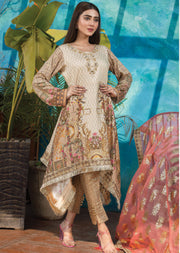 Coral Bead - Ready to Wear Embroidered Linen Suit - Crisanthe by Sofia Khas - Memsaab Online