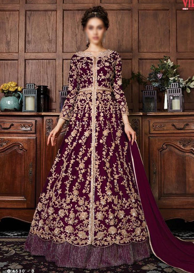 V453 Plum - Vipul Inspired Anarkali Dress - Unstitched - Indian Bollywood Designer Dress - Memsaab Online