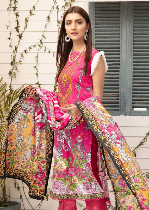 Unstitched - Sanoor Bena Embroidered Lawn Suit - Memsaab Online