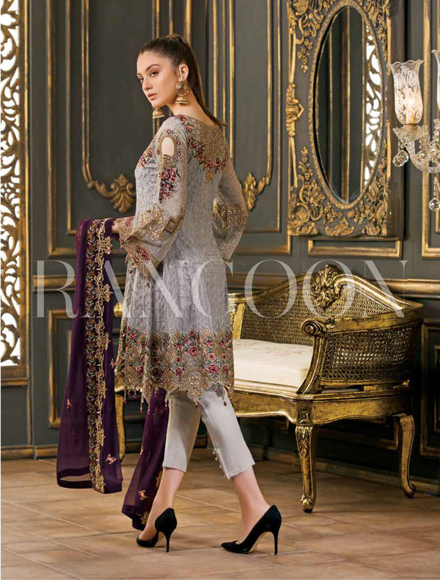 Grey Unstitched Ramsha Rangoon - Memsaab Online