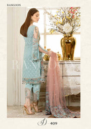 D409- Ramsha Rangoon - Unstitched Chiffon Collection 2019 - Pakistani Designerwear - Memsaab Online