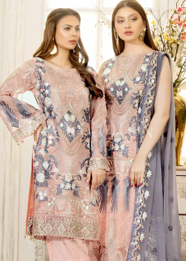 D410- Ramsha Rangoon - Readymade Chiffon Collection 2019 - Pakistani Designerwear - Memsaab Online