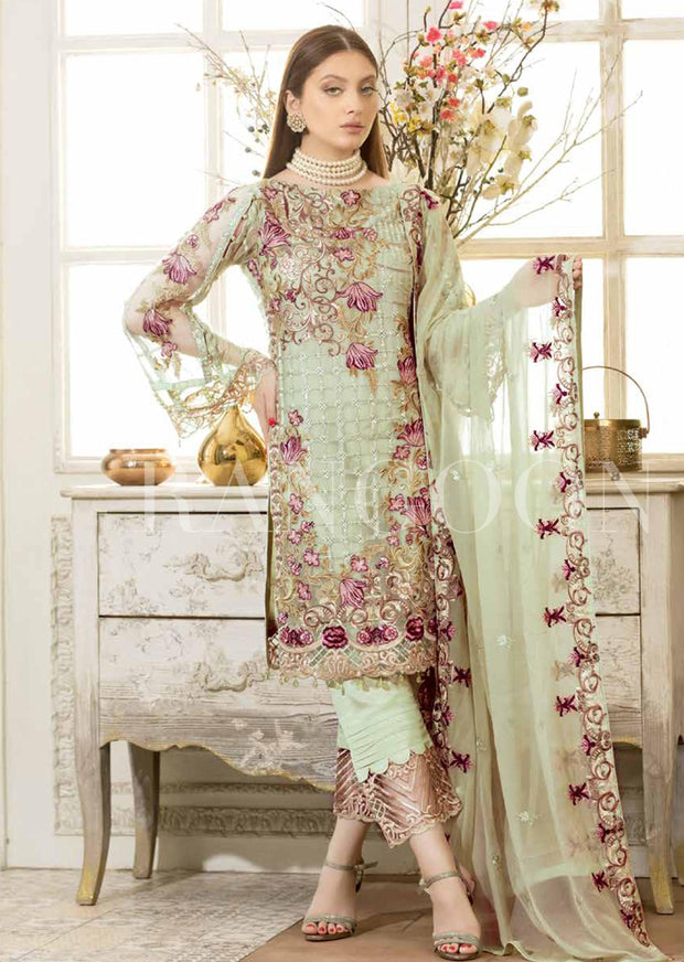 D411- Ramsha Rangoon - Readymade Chiffon Collection 2019 - Pakistani Designerwear - Memsaab Online