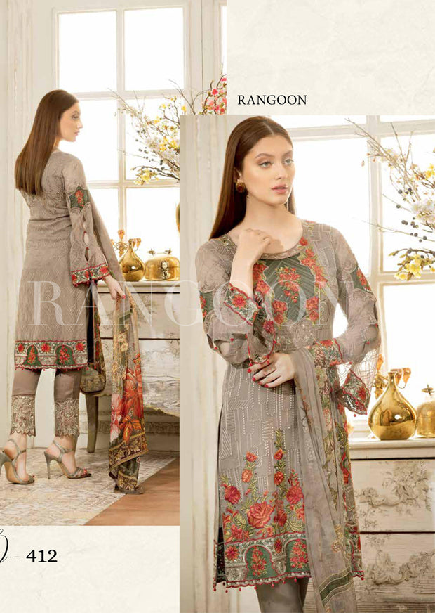 D412- Ramsha Rangoon - Unstitched Chiffon Collection 2019 - Pakistani Designerwear - Memsaab Online