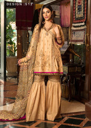 D512 - Abiha's by Eshaisha Linen - Viscose - Jacquard Embroidered Collection 2019 - Memsaab Online