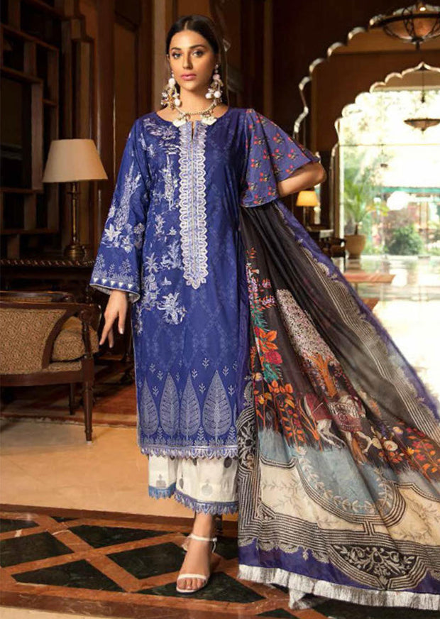 D517 - Abiha's by Eshaisha Linen - Viscose - Jacquard Embroidered Collection 2019 - Memsaab Online