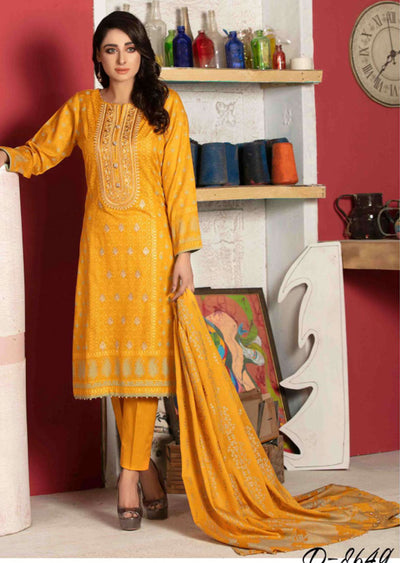 Unstitched Embroidered Jaquard Lawn Suit Amna Sohail Tawakkal - Memsaab Online