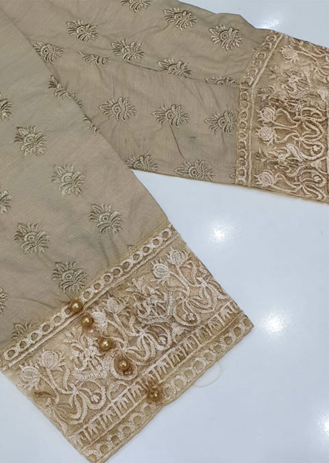 DXT208 Gold Cotton Embroidered Trouser - Memsaab Online