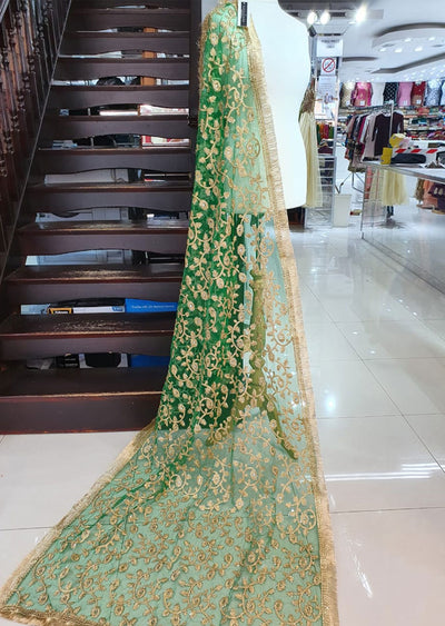 DXP01 Bottle Green Embroidered Net Duppatta - Memsaab Online