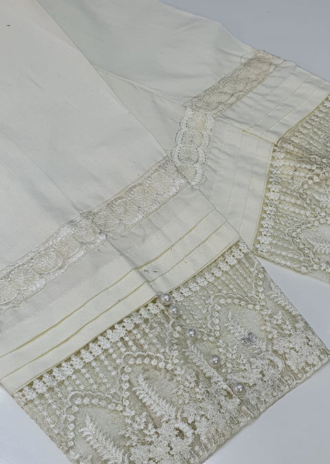 DXT04 Cream Embroidered Trouser - Memsaab Online