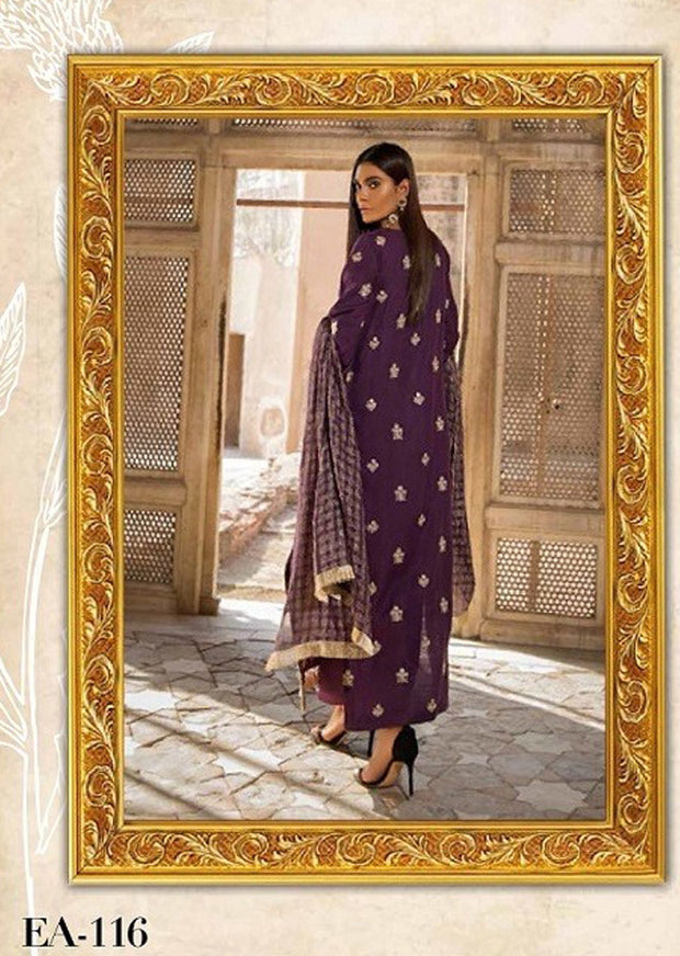 EA-116 Unstitched - Eshaisha Winter Embroidered Collection 2019 - Pakistani Designer Clothes - Memsaab Online