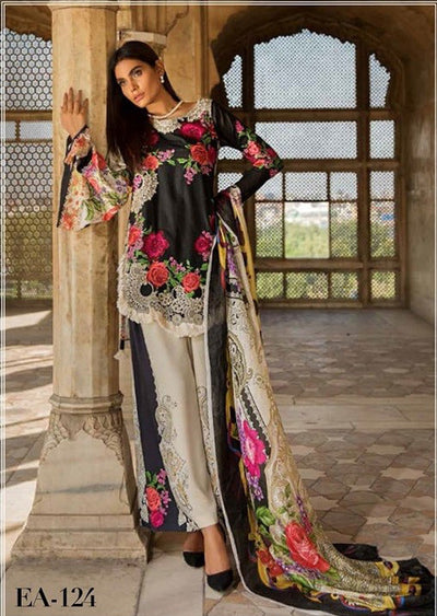 EA-124 Unstitched - Eshaisha Winter Embroidered Collection 2019 - Pakistani Designer Clothes - Memsaab Online