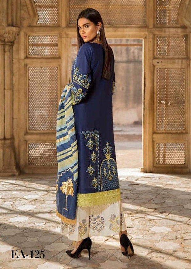 EA-125 Unstitched - Eshaisha Winter Embroidered Collection 2019 - Pakistani Designer Clothes - Memsaab Online