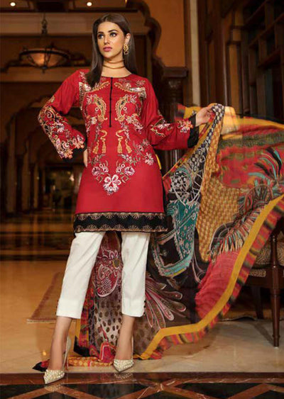 EA-511 Eshaisha Luxury Embroidered Eid Collection - Unstitched Pakistani Designer Suit - Memsaab Online
