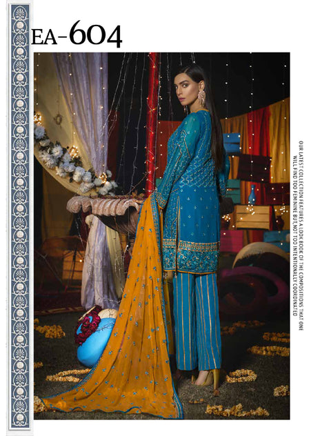 EA - 604 - TEAL - Unstitched - Emaan Adeel Luxury Chiffon Vol - 6 - Pakistani Designer Embroidered Suit - Memsaab Online