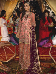 EA - 606 - PINK - Unstitched - Emaan Adeel Luxury Chiffon Vol - 6 - Pakistani Designer Embroidered Suit - Memsaab Online