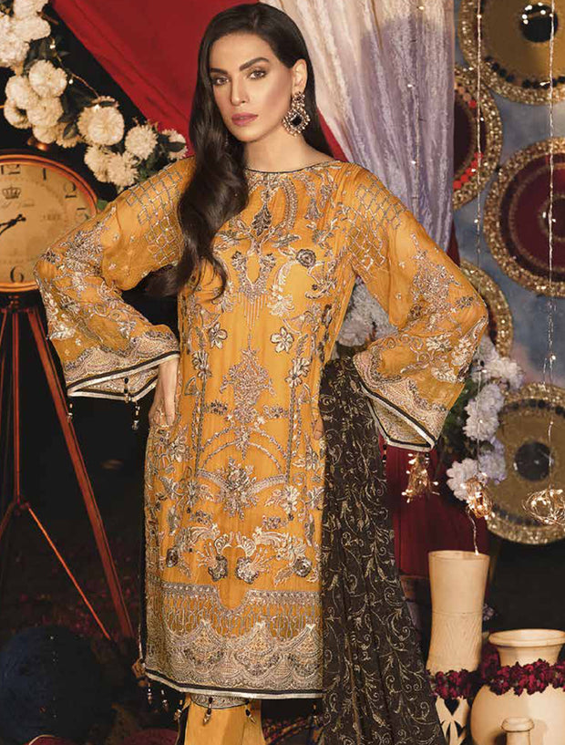 EA - 607 - YELLOW - Unstitched - Emaan Adeel Luxury Chiffon Vol - 6 - Pakistani Designer Embroidered Suit - Memsaab Online