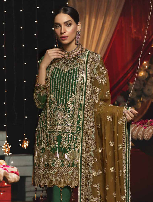 EA - 609 - GREEN - Unstitched - Emaan Adeel Luxury Chiffon Vol - 6 - Pakistani Designer Embroidered Suit - Memsaab Online