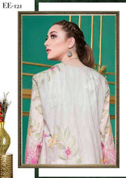 EE-121 Unstitched - EshaEman Embroidered Lawn Collection - Pakistani Designer Premium Lawn Suit Summer 2019 - Memsaab Online