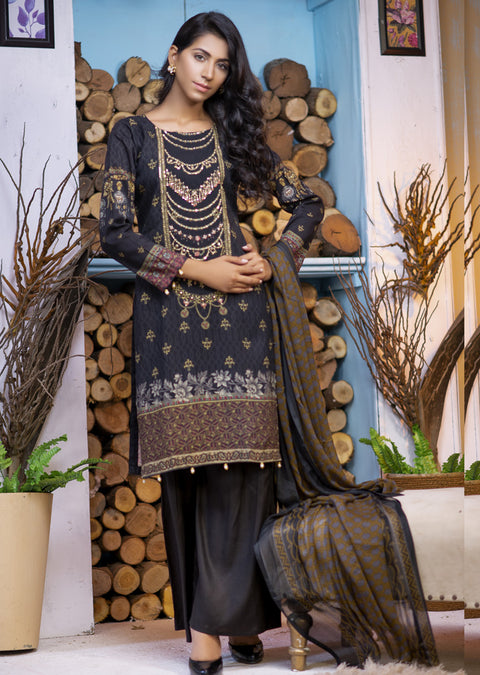 EST211 - Estelle Vol 2 - Readymade Premium Winter Linen Suit with Handwork - Pakistani Designerwear - Memsaab Online