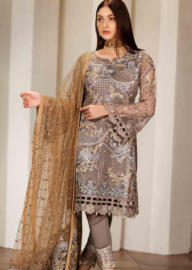 F-1701 Unstitched Verve Vol 17 Collection by Ramsha - Pakistani designer chiffon suits - Memsaab Online