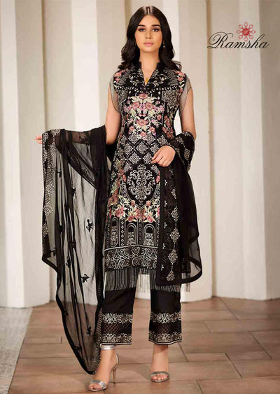Unstitched Verve Vol 17 Collection by Ramsha - Pakistani designer chiffon suits - Memsaab Online