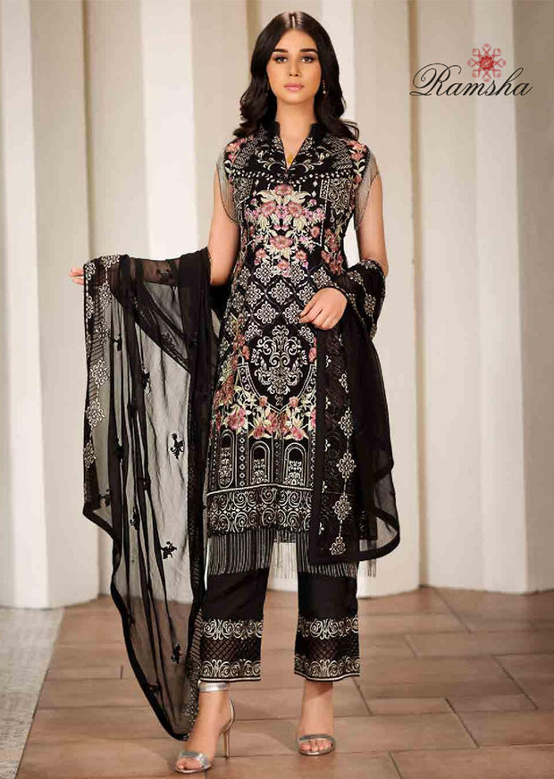 F-1705 Unstitched Verve Vol 17 Collection by Ramsha - Pakistani designer chiffon suits - Memsaab Online
