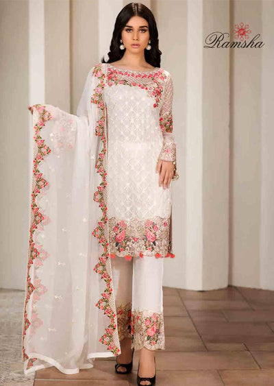 F-1711 Unstitched Verve Vol 17 Collection by Ramsha - Pakistani designer chiffon suits - Memsaab Online