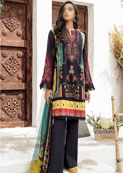 FHD02 Unstitched Iznik Inspired Linen Embroidered Suit - Memsaab Online