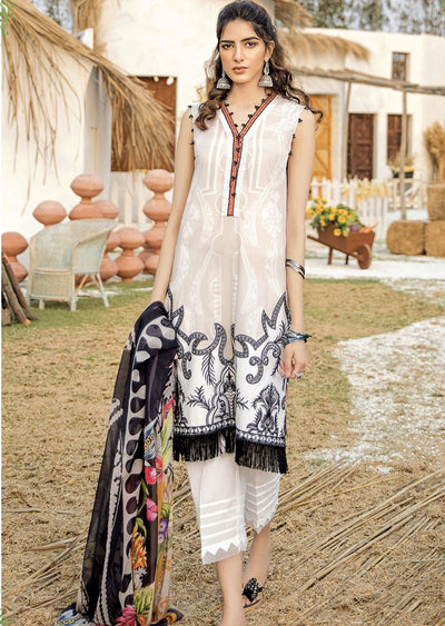 FHD03R Readymade Iznik Inspired Linen Embroidered Suit - Memsaab Online