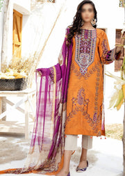 FHD04 Unstitched Iznik Inspired Linen Embroidered Suit - Memsaab Online