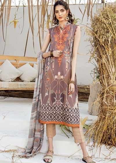FHD05R Readymade Iznik Inspired Linen Embroidered Suit - Memsaab Online