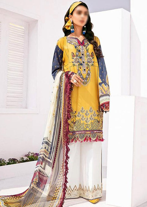 FHD07 Unstitched Fuchsia Inspired Linen Embroidered Suit - Memsaab Online