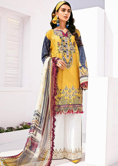 FHD07R Readymade Baroque Inspired Linen Embroidered Suit - Memsaab Online