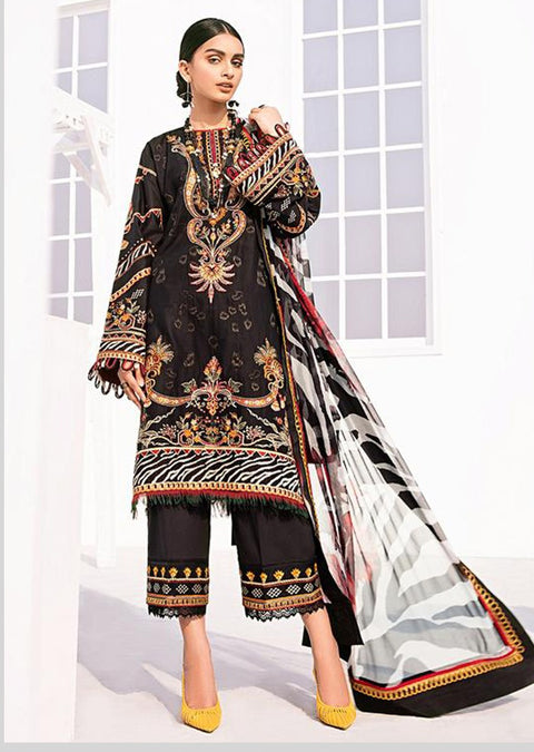 FHD08R Readymade Baroque Inspired Linen Embroidered Suit - Memsaab Online