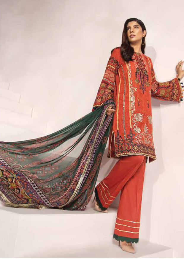 Unstitched - Orange Florent Luxury Summer Suit 2020 - Memsaab Online