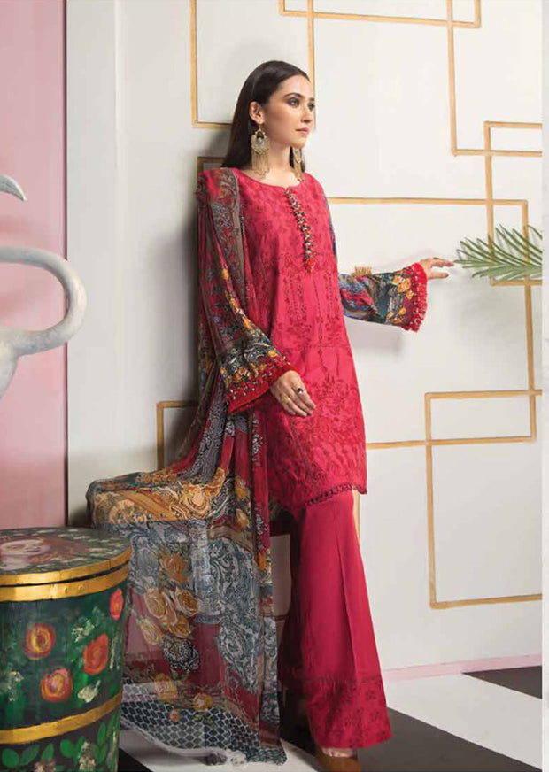 Unstitched - Red Florent Luxury Summer Suit 2020 - Memsaab Online